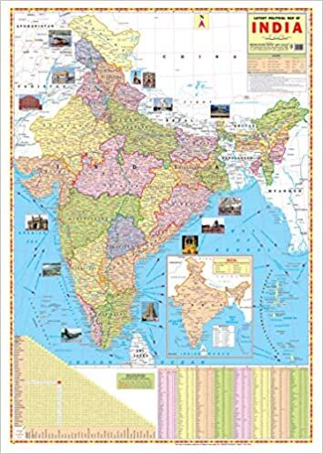 INDIA POLITICAL MAP WALL CHART Size 28x22 inch