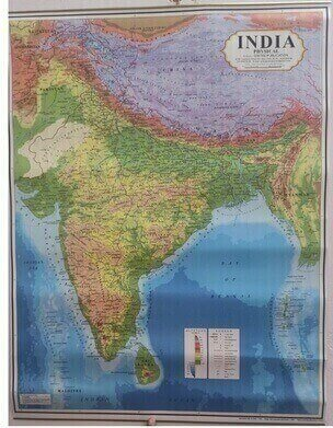 INDIA Physical MAP WALL CHART Size 28×22 inch